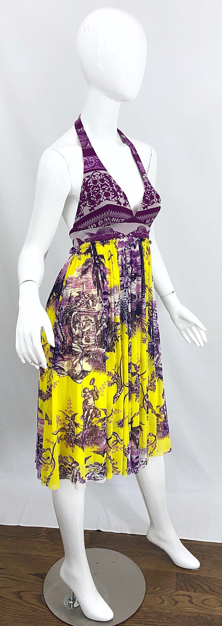 1990s Jean Paul Gaultier Mythical Print Yellow and Purple Vintage Halter Dress For Sale 2