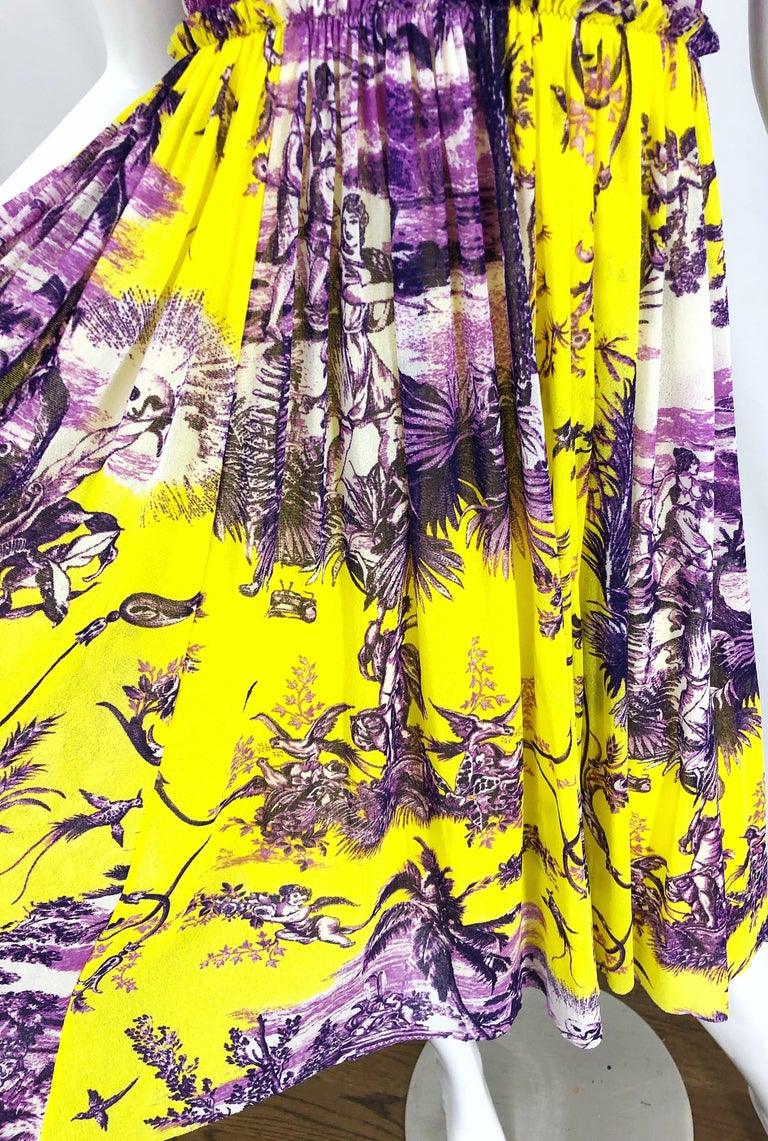 1990s Jean Paul Gaultier Mythical Print Yellow and Purple Vintage Halter Dress For Sale 3