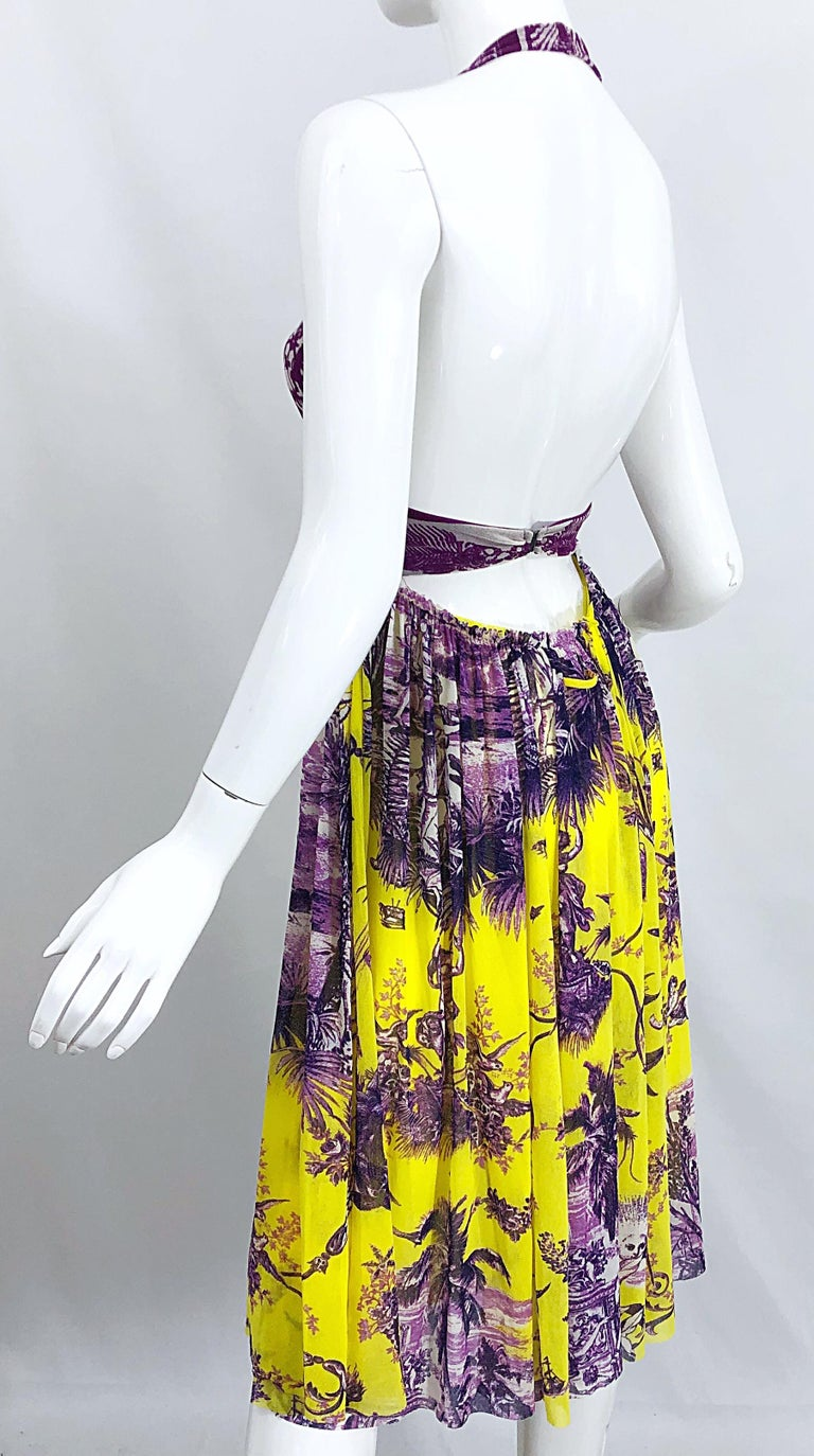 1990s Jean Paul Gaultier Mythical Print Yellow and Purple Vintage Halter Dress For Sale 4