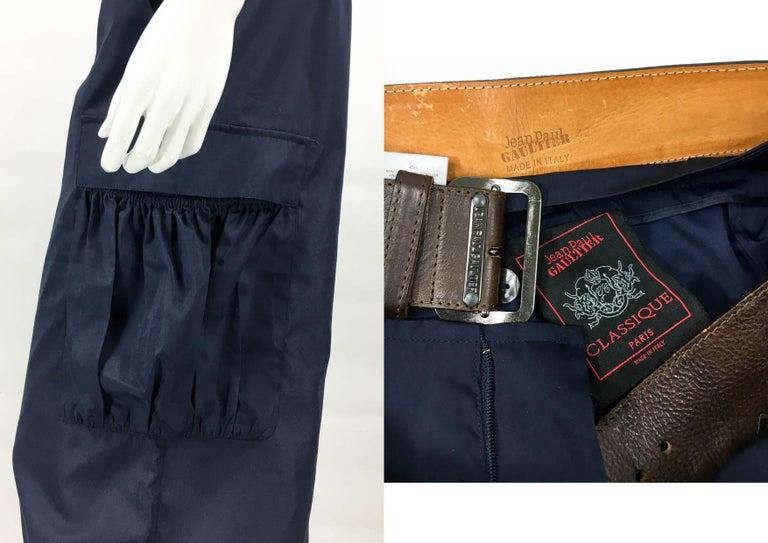 Jean Paul Gaultier Navy Blue Nylon Cargo Pants With Detachable Belt, 1990s  For Sale 5