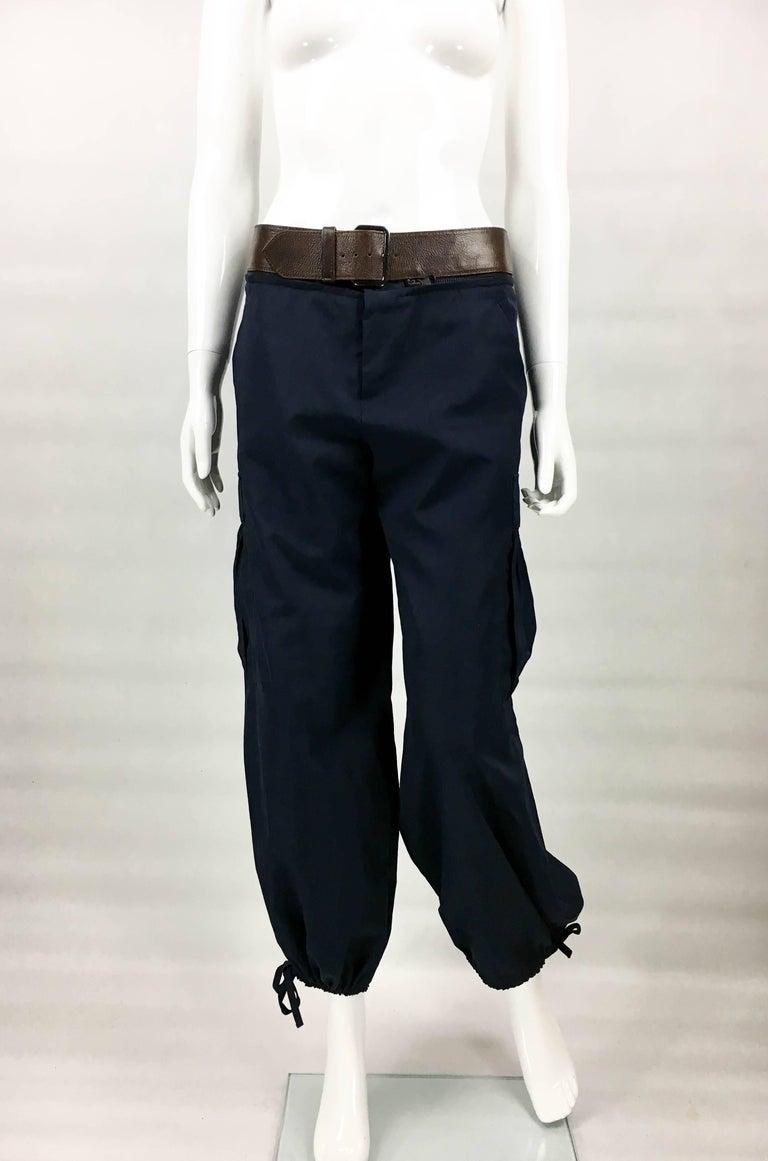 Black Jean Paul Gaultier Navy Blue Nylon Cargo Pants With Detachable Belt, 1990s  For Sale