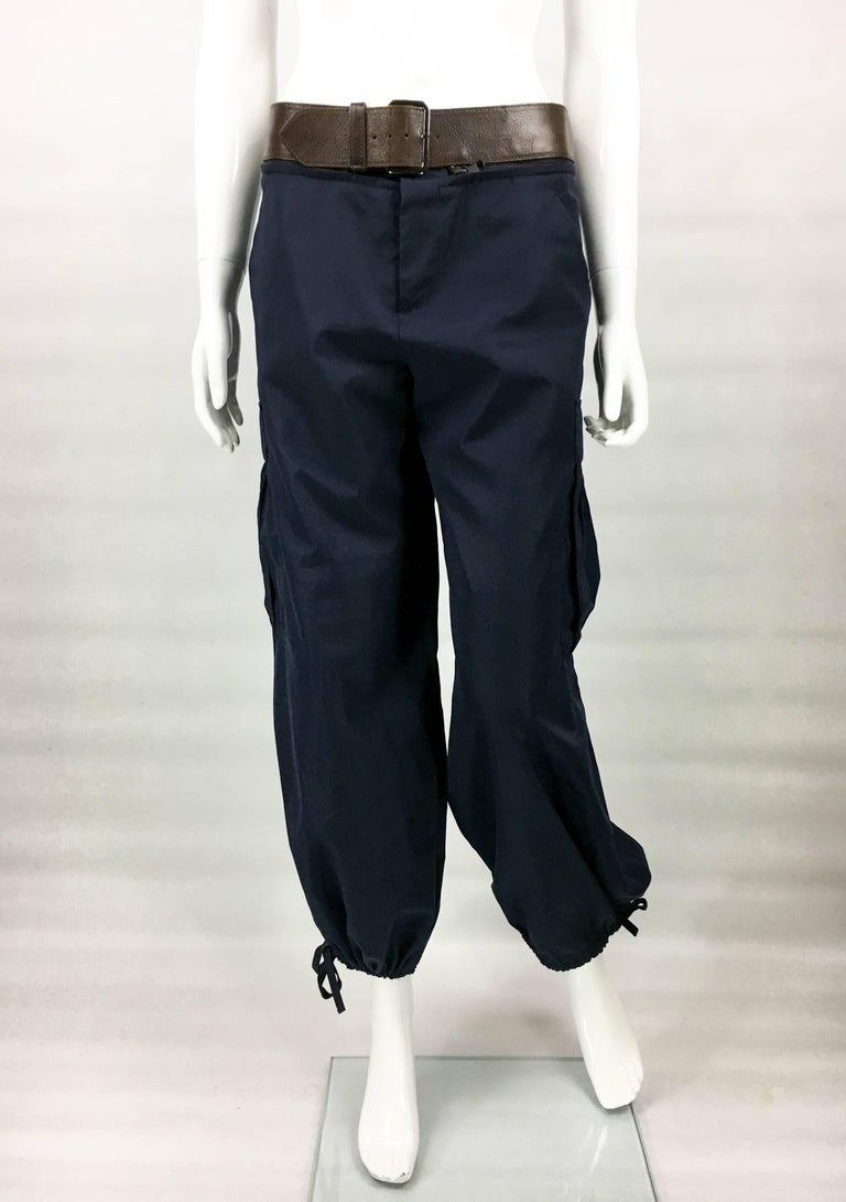 Jean Paul Gaultier Navy Blue Nylon Cargo Pants With Detachable Belt, 1990s  In Excellent Condition For Sale In London, Chelsea