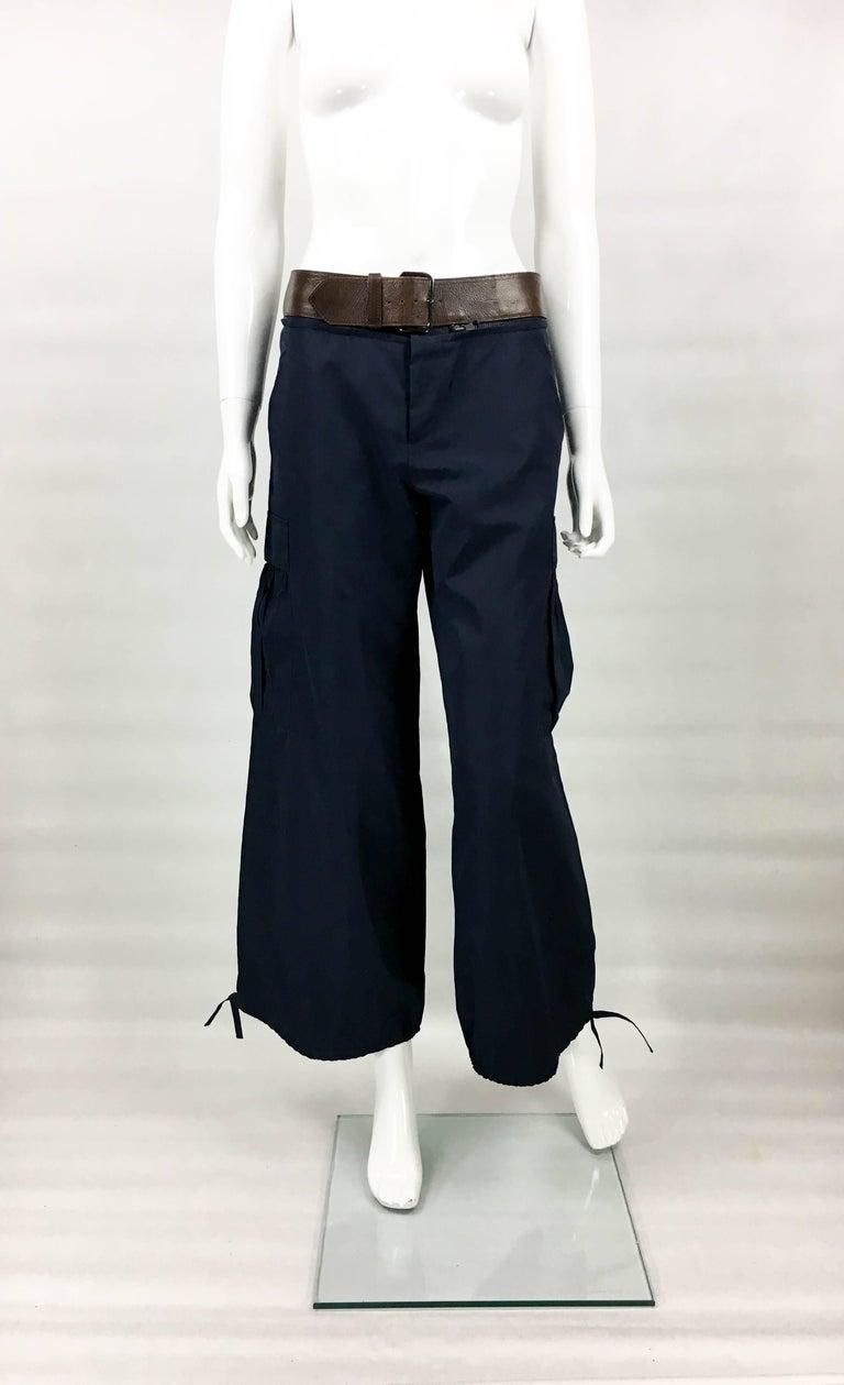 Women's Jean Paul Gaultier Navy Blue Nylon Cargo Pants With Detachable Belt, 1990s  For Sale