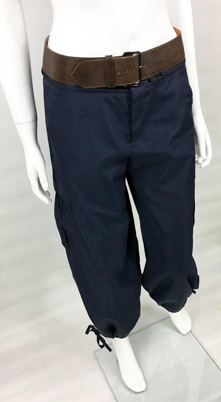 Jean Paul Gaultier Navy Blue Nylon Cargo Pants With Detachable Belt, 1990s  For Sale 1