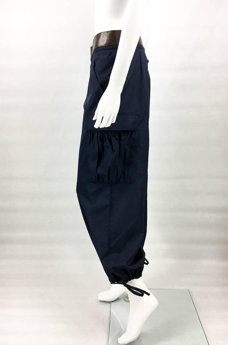 Jean Paul Gaultier Navy Blue Nylon Cargo Pants With Detachable Belt, 1990s  For Sale 2