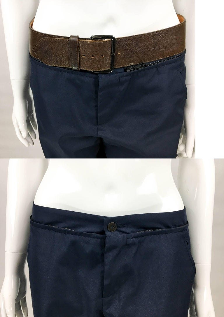 Jean Paul Gaultier Navy Blue Nylon Cargo Pants With Detachable Belt, 1990s  For Sale 4