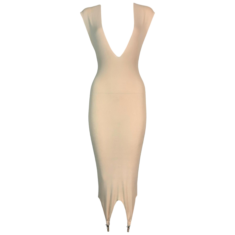 1990's Jean Paul Gaultier Nude Plunging Bodycon Lingerie Suspender Dress