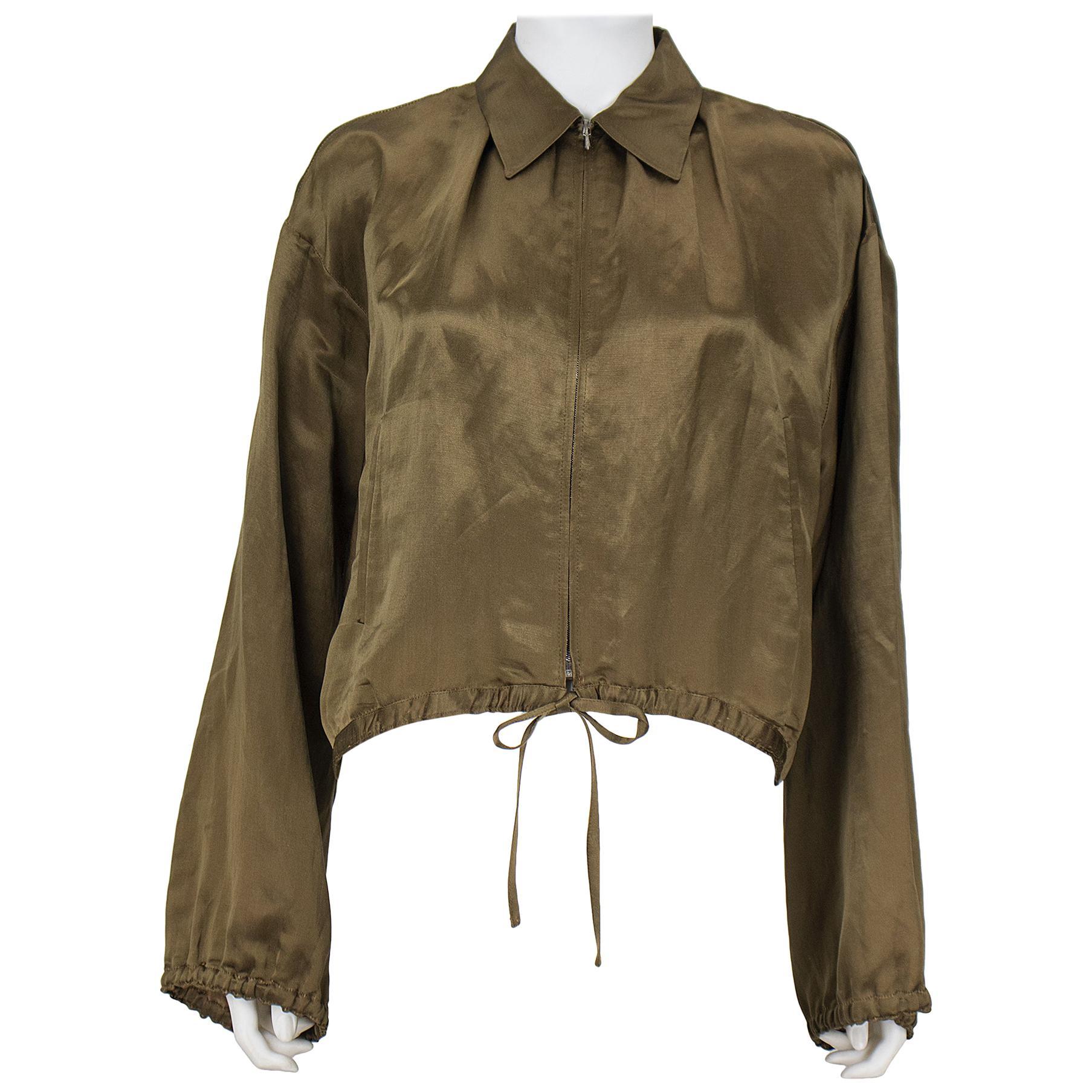 1990s Jean Paul Gaultier Olive Silk Crop Bomber Jacket