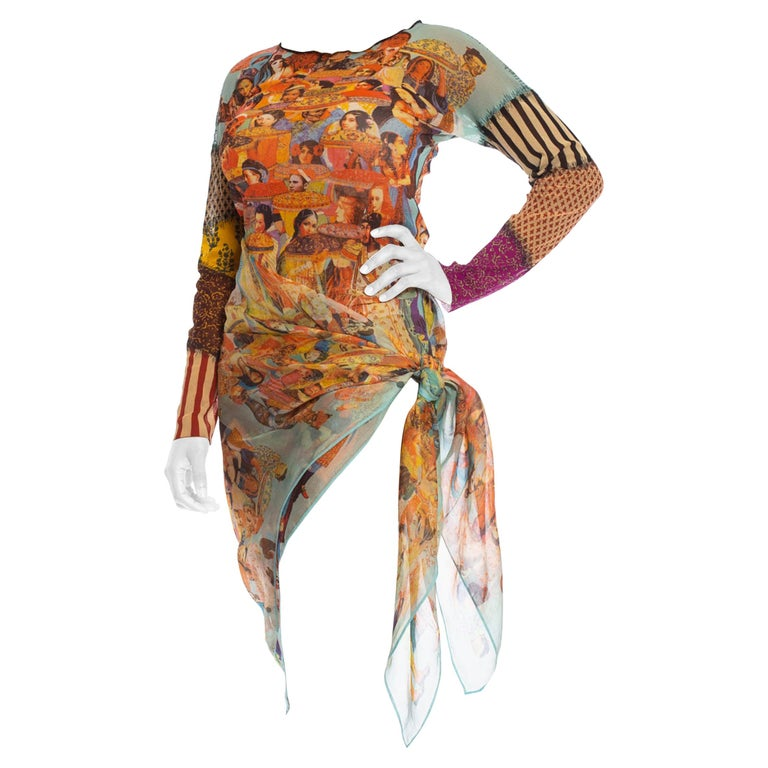 Jean Paul Gaultier multicultural patchwork shirt and wrap skirt, 1990s