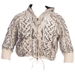 1990's Jean Paul Gaultier Printed Sweater Cropped Hoodie