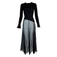 1990's Jean Paul Gaultier Sheer Black Bottom L/S Dress