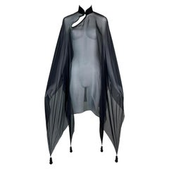 1990's Jean Paul Gaultier Sheer Black Silk Chinoiserie Dress Poncho