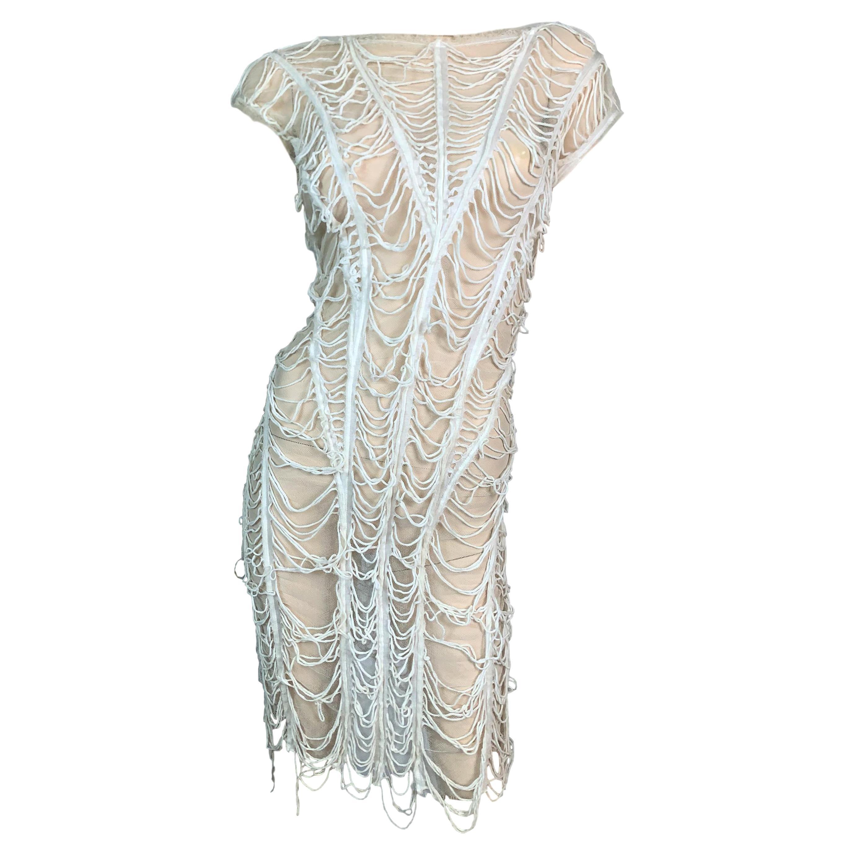 1990's Jean Paul Gaultier Sheer Ivory Mesh Spiderweb Dress