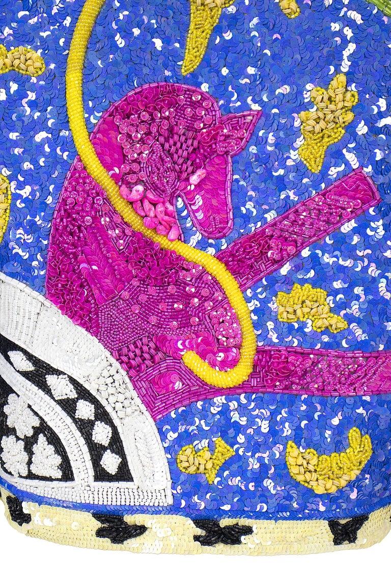 1990s Jeanette Kastenberg Multi-Color Unicorn Sequin Beaded Jacket  For Sale 6