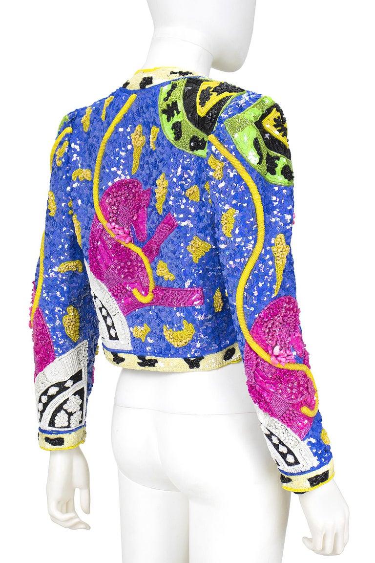 1990s Jeanette Kastenberg Multi-Color Unicorn Sequin Beaded Jacket  For Sale 7