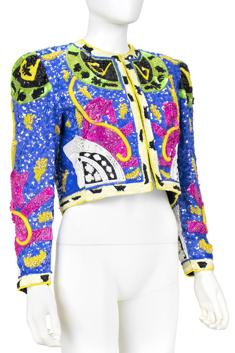 1990s Jeanette Kastenberg Multi-Color Unicorn Sequin Beaded Jacket  For Sale 8