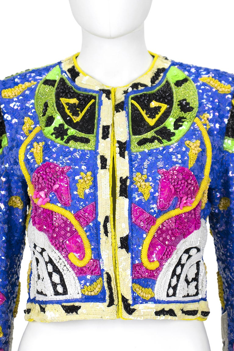 1990s Jeanette Kastenberg Multi-Color Unicorn Sequin Beaded Jacket  In Good Condition For Sale In Los Angeles, CA