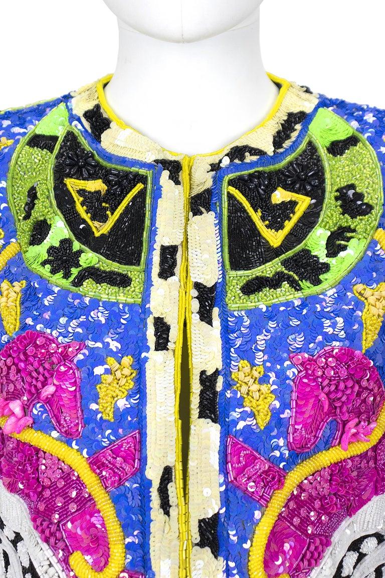 Women's 1990s Jeanette Kastenberg Multi-Color Unicorn Sequin Beaded Jacket  For Sale
