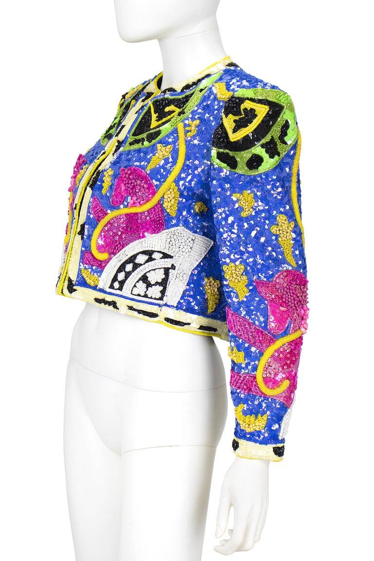 1990s Jeanette Kastenberg Multi-Color Unicorn Sequin Beaded Jacket  For Sale 1