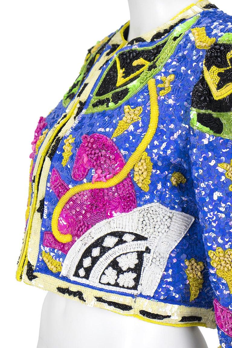1990s Jeanette Kastenberg Multi-Color Unicorn Sequin Beaded Jacket  For Sale 2