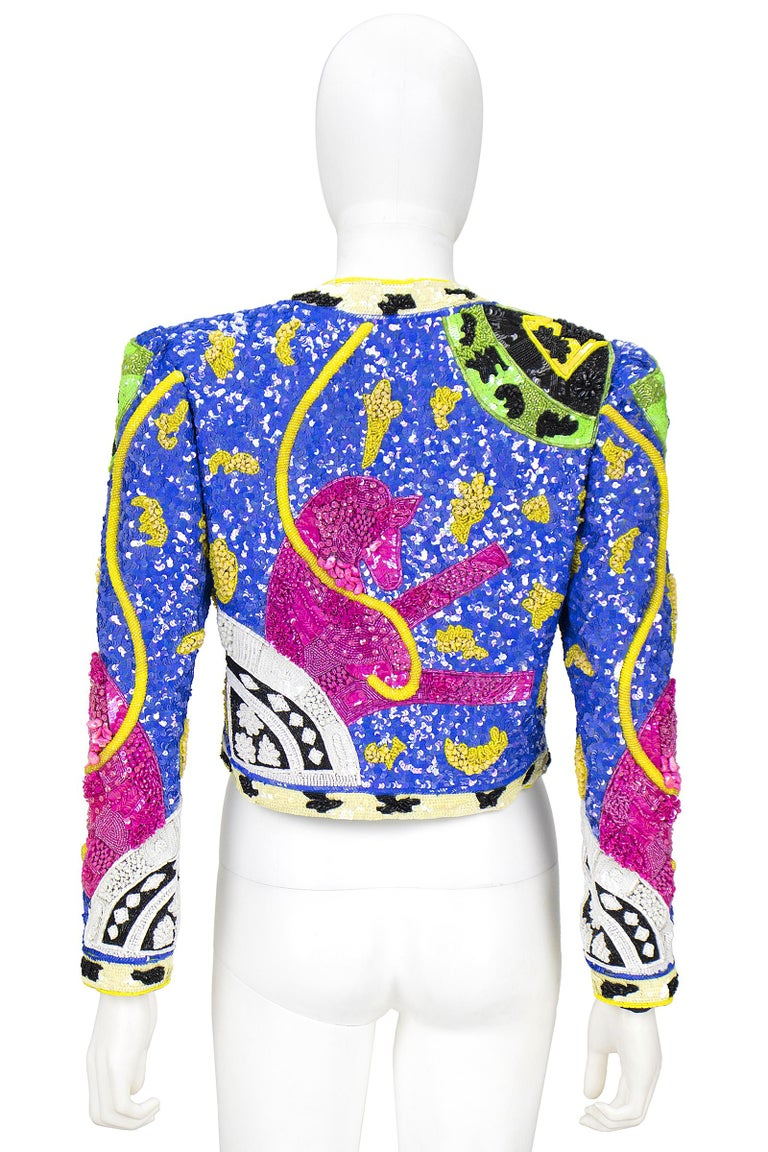 1990s Jeanette Kastenberg Multi-Color Unicorn Sequin Beaded Jacket  For Sale 4