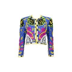 1990s Jeanette Kastenberg Multi-Color Unicorn Sequin Beaded Jacket