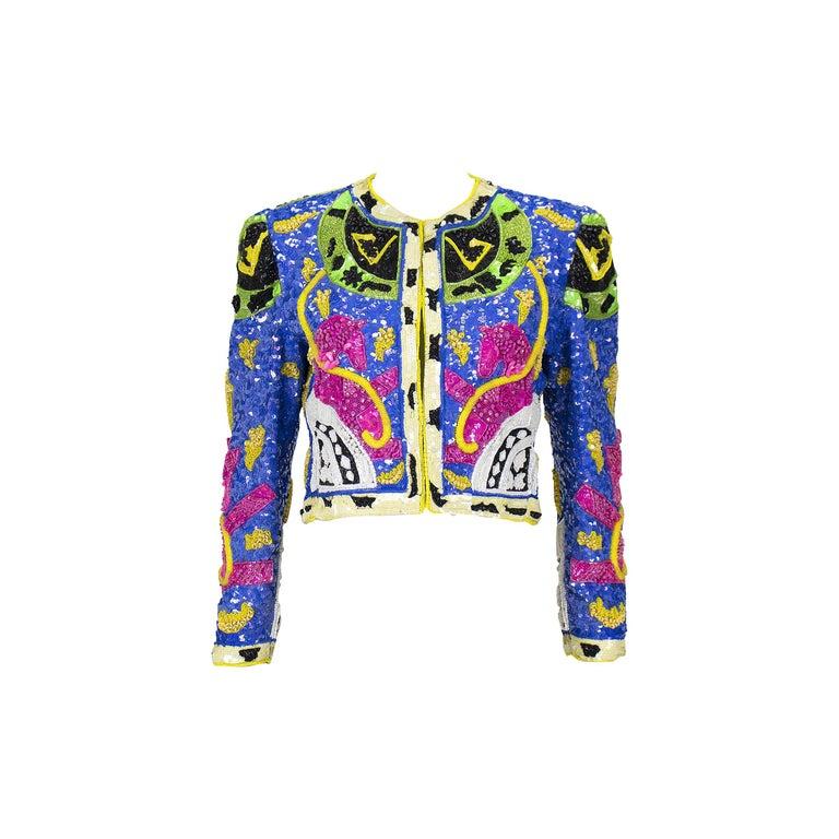 1990s Jeanette Kastenberg Multi-Color Unicorn Sequin Beaded Jacket  For Sale