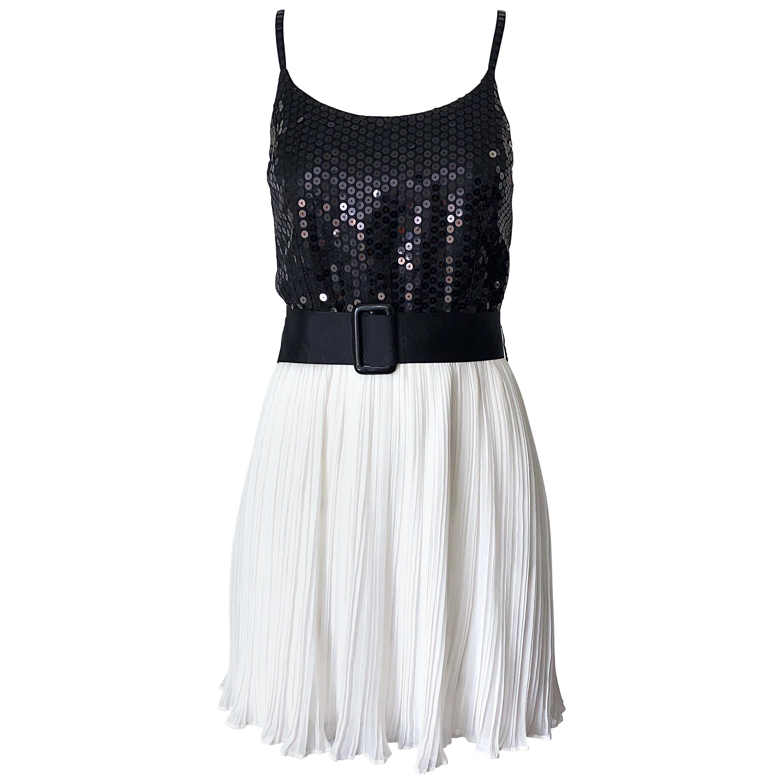 1990s Jenny Packham Black and White Sequined Silk Vintage 90s Mini Dress