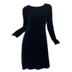 1990s Jil Sander Black Lightweight Velvet Size 34 / 2 4 Minimalist Vintage Dress