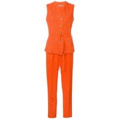 1990s Jil Sander Orange Linen Suit