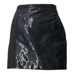 1990s JIL SANDER Tailor Made Grey / Black Metallic Vintage 90s Mini Skirt