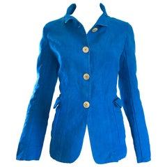 1990s Jil Sander Turquoise Blue Cotton + Linen Vintage 90s Tailored Jacket