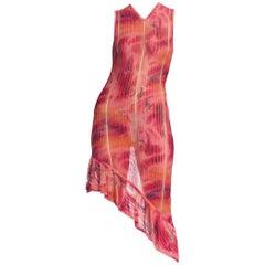 1990s John Galliano Christian Dior Tye-Dye Sheer Graffiti Dress