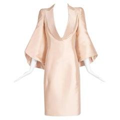 1990's John Galliano Cocktail Dress w/Plunge Neckline & Dramatic Sleeves