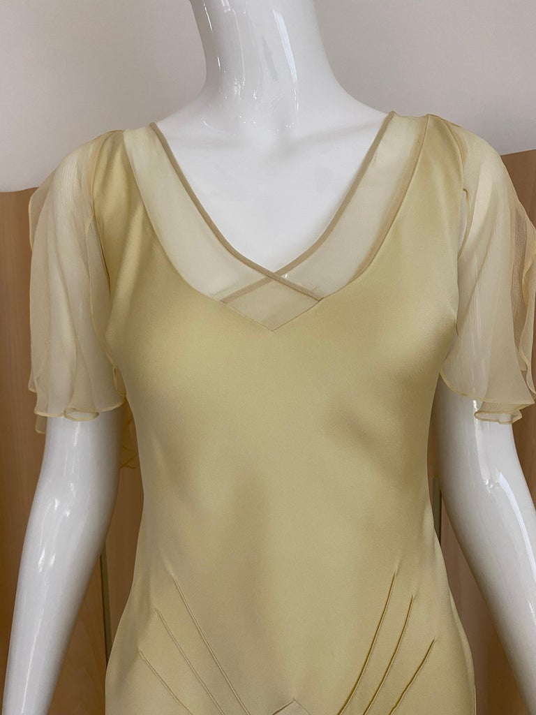 Vintage 1990s John Galliano cream silk charmeuse bias cut dress with flutter sleeves. Perfect for wedding dress . fit size US 2/4