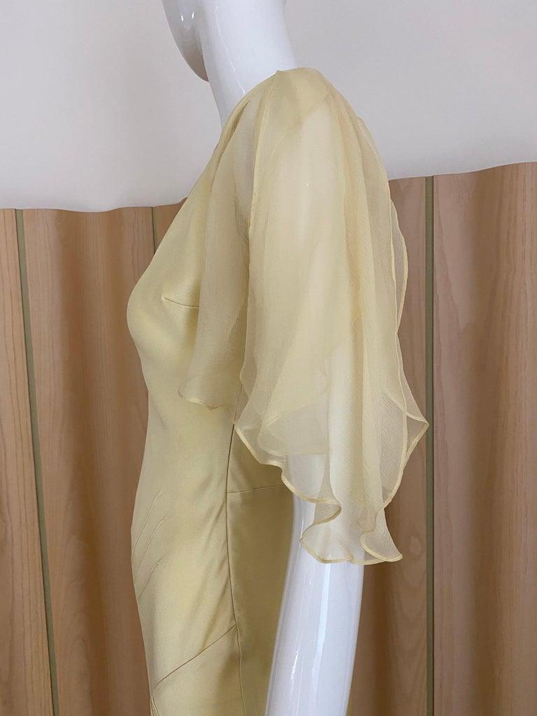Beige 1990s John Galliano Cream Silk Charmeuse Bias Cut Dress For Sale