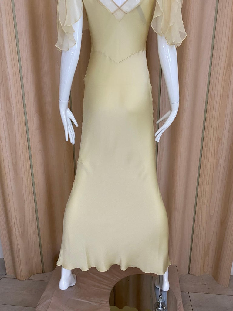 1990s John Galliano Cream Silk Charmeuse Bias Cut Dress In Good Condition For Sale In Beverly Hills, CA