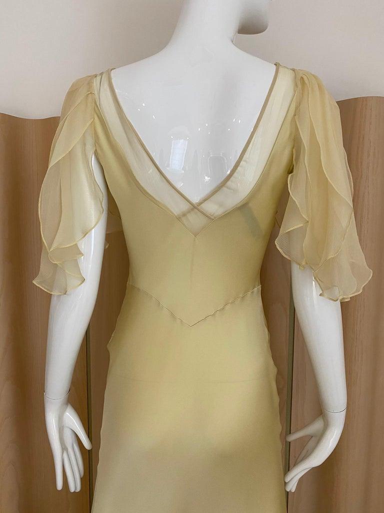 Women's 1990s John Galliano Cream Silk Charmeuse Bias Cut Dress For Sale