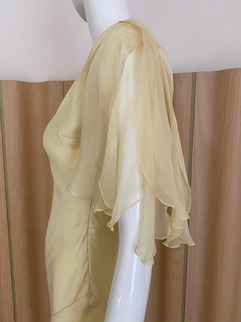 1990s John Galliano Cream Silk Charmeuse Bias Cut Dress For Sale 1