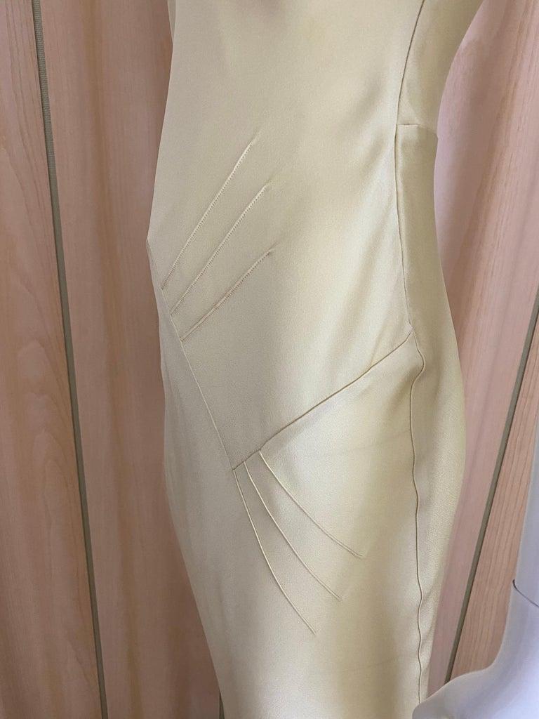 1990s John Galliano Cream Silk Charmeuse Bias Cut Dress For Sale 2