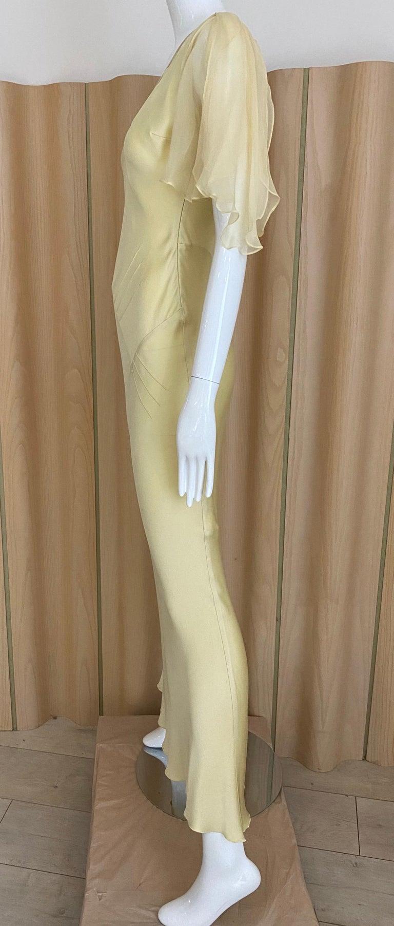 1990s John Galliano Cream Silk Charmeuse Bias Cut Dress For Sale 3