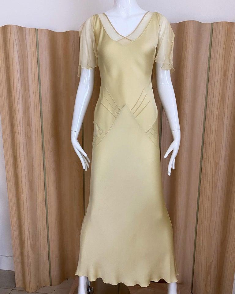 1990s John Galliano Cream Silk Charmeuse Bias Cut Dress For Sale 4