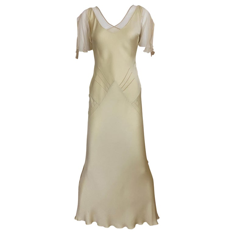 1990s John Galliano Cream Silk Charmeuse Bias Cut Dress For Sale