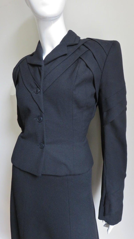 Black John Galliano Runway Skirt Suit 1990s For Sale