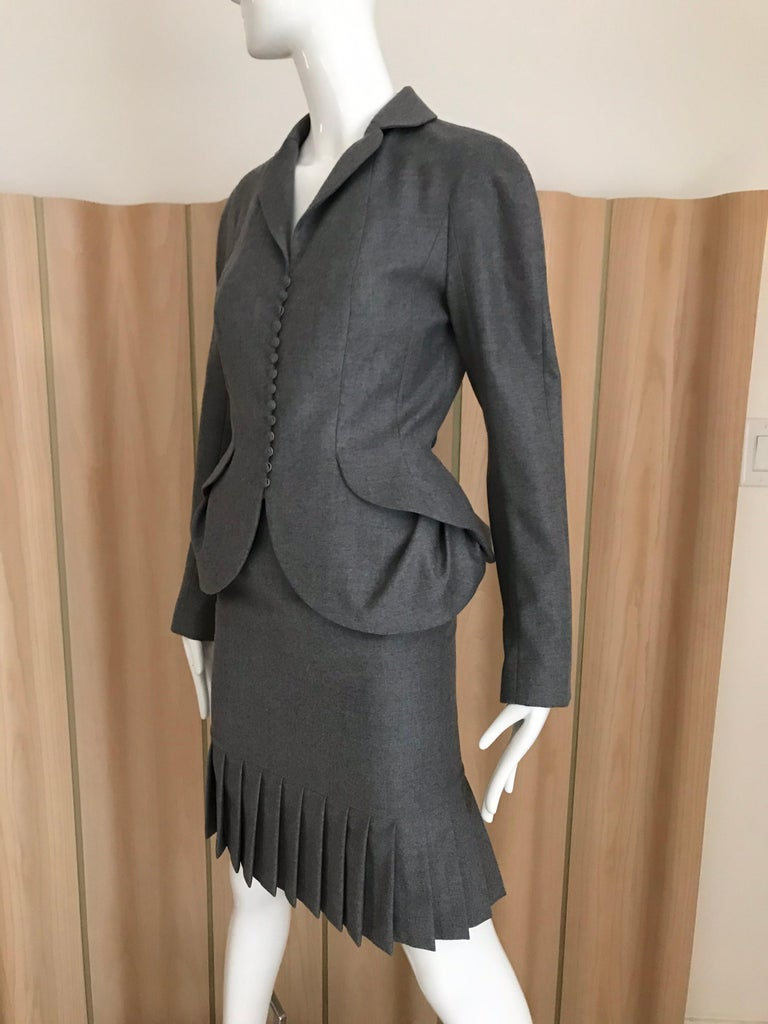 1990s John Galliano Grey Peplum Suits  For Sale 6