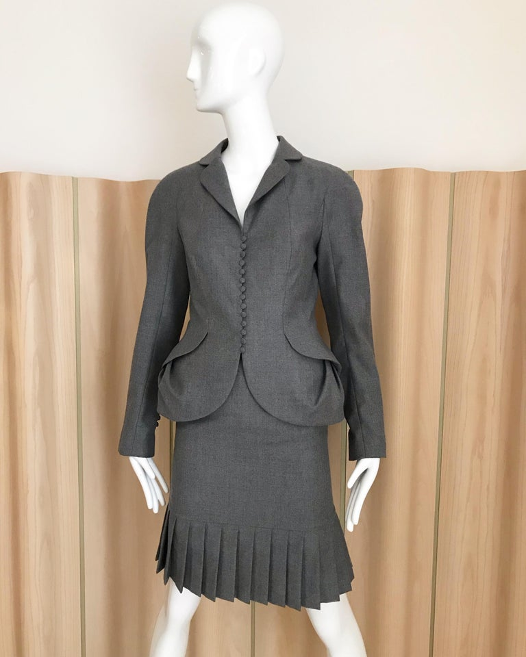 1990s John Galliano Grey Peplum Suits  In Excellent Condition For Sale In Beverly Hills, CA