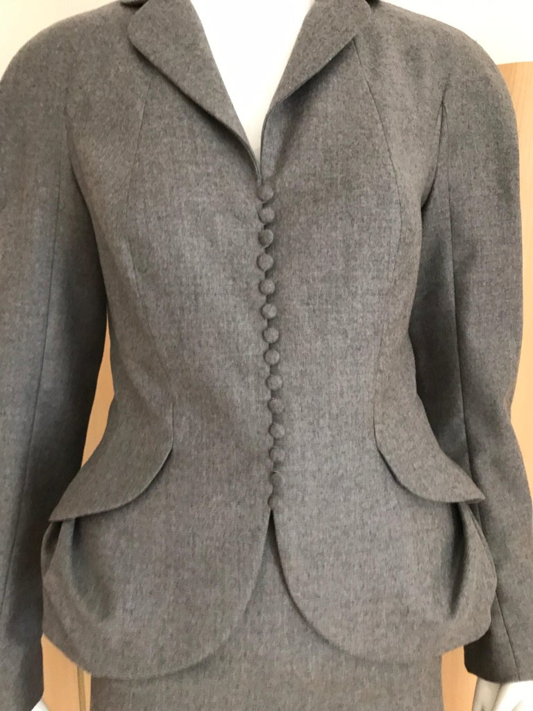 Women's 1990s John Galliano Grey Peplum Suits  For Sale