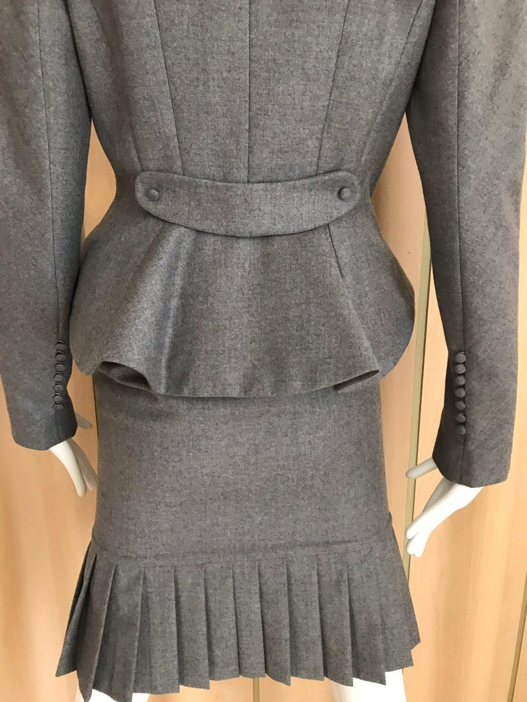 1990s John Galliano Grey Peplum Suits  For Sale 1