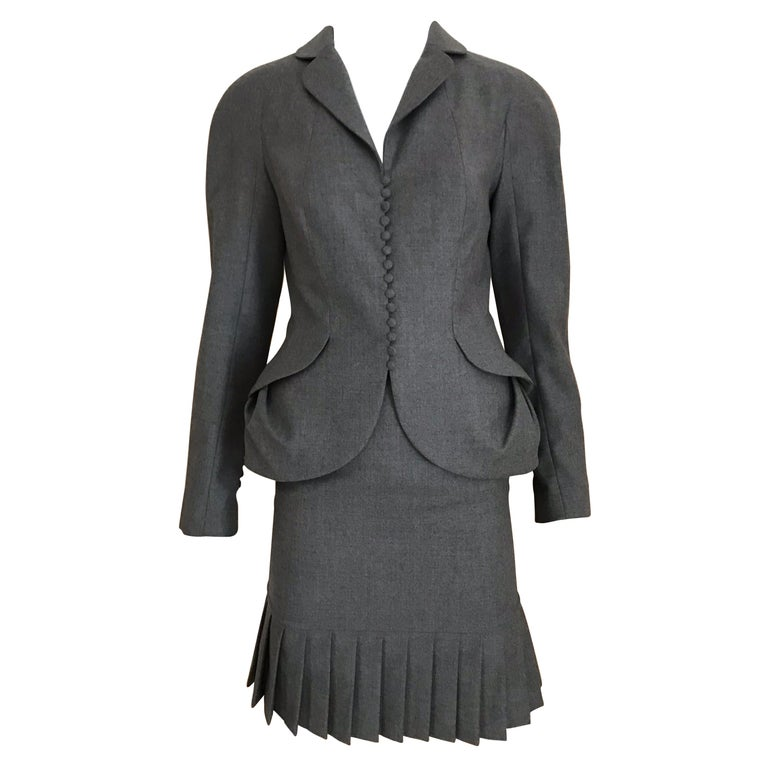 1990s John Galliano Grey Peplum Suits  For Sale