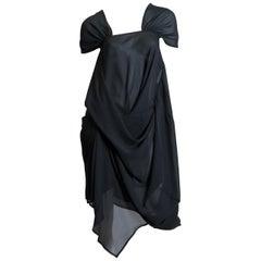 1990S JUNYA WATANABE FOR COMME DES GARCONS Black Polyester Chiffon Asymmetrical